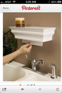 Paper towel dispenser and shelf…smart. I think this is my favorite paper towel dispenser idea! Paper towel dispenser, great for kitchen, bathroom and over utility sink in laundry room. Comes in white, black, and brown. @ Home Improvement Ideas Home Design, Interior Design, Rv Interior, Diy Design, Interior Architecture, Diy Craft Projects, Home Projects, Diy Crafts, Weaving Projects