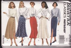 Butterick Sewing Pattern 3083, Classics, Fast and Easy Skirts, Aline,Panels, Gores, Flared, Size 6-8-10, Uncut by retrochick66 on Etsy
