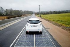A kilometer-sized testing site of Solar road was inaugurated in the French village of Tourouvre in Normandy by the ecology minister, Ségolène Royal, France. The road is covered with 2,800 sq m of electricity-generating panels.