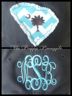 State Appliqué Monogram Hat by ThePreppyPineappleSC on Etsy