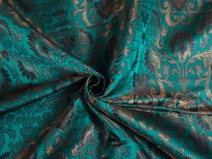 100 Pure Silk Brocade Fabric Kingfisher Blue Black Metallic Gold 44"