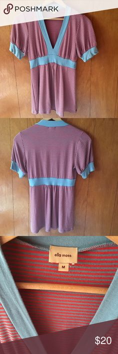 Ella Moss Striped V-Neck Short Sleeve Top Ella Moss striped v-neck. Minimal wear from washing and drying. Lighter teal and bright strawberry-red stripes. Polyester/Rayon/Spandex. Make an offer on any of my listings! Ella Moss Tops Tees - Short Sleeve