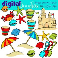 COMBO PACK bright beach Digital Clip art and black by kpmdoodles, $5.50