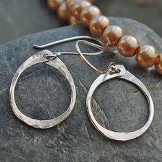 Silver Dangle, Silver, Hoop Dangle Earrings- Sterling Silver Hoop Dangle Earrings, Silver Oval Earrings, Hammered Silver, Hammered Hoops