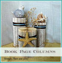 Tweak It Tuesday Book Page Columns - book page art, altered books, vintage paper columns