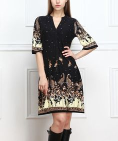 Another great find on #zulily! Black & Brown Floral Notch Neck Dress #zulilyfinds
