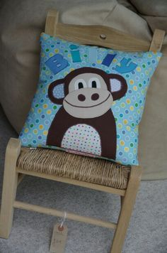 Applique monkey cushion
