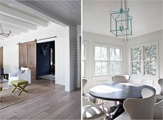 Royall Avenue Modern Bungalow | Rue- barn doors fab!  Round table with white chairs.