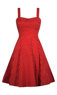 Retro Polka Dot Dress - Red