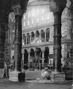 In the interior of the Hagia Sophia in the early 1900s, when it was still used as a mosque.