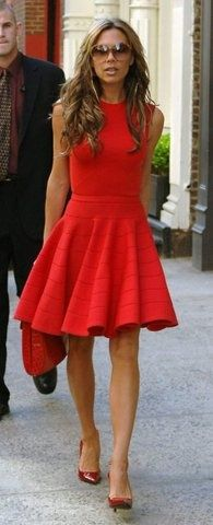 Wear.Orangey Red. And a flirty skirt Trends
