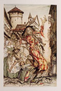 "from ""The Pied Piper of Hamelin"",  illus. Arthur RACKHAM   David Brass Rare Books"