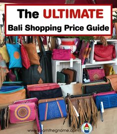 The Ultimate Bali Shopping Price Guide ROAM THE GNOME Family Travel Website. Hundreds of fun ideas and activities to help you plan and book your next family vacation or weekend adventure. Bali Travel Guide, Asia Travel, Travel Tips, Bali Shopping, Shopping Travel, Cheap Shopping, Bali With Kids, Bali Waterfalls, Bali Baby