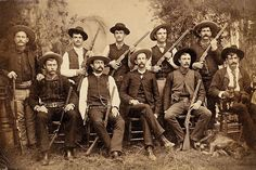 The picture taken is of the first unofficial group of Texas Rangers. The men had to supply their own equipment and were paid in property to keep the peace.