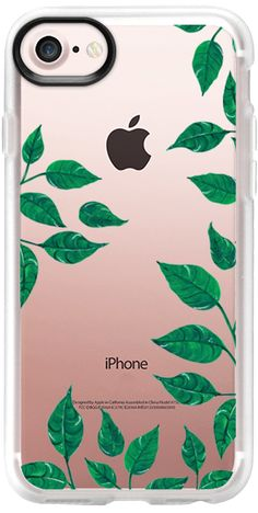 Casetify iPhone 7 Classic Grip Case - dark green leaves - clear case by Carla Zancanaro  #leaves #green #casetify #iphonecase #nature #olant #clearcasw #leaf #botanical