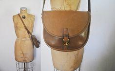 Coach Saddle RIDING Bag / brown leather Messenger Satchel purse / New York by badbabyvintage on Etsy