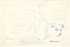 E. Besozzi pitt. s.d. (1959) Cane e gatto con bottiglia pennarello su carta cm. 9x13,2 arc. 470