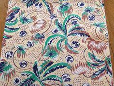 Vintage Tropical Feedsack Cotton Fabric Tiki Palm by AStringorTwo