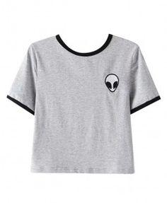 Alien Print Cropped T-shirt - Clothing