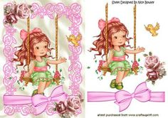 Little girl on her swing with bow and pink roses on Craftsuprint - Add To Basket!