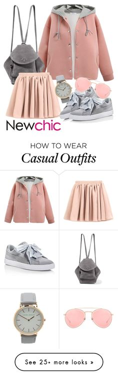 """NEWCHIC Outfit Style"" by kirie59 on Polyvore featuring MANU Atelier, Puma, Dita, Summer, chic, leatherjacket, New and newchic"