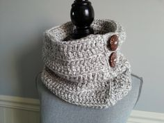 This unique handmade snood is made with acrylic yarn and big wooden buttons. It will keep you warm during the cold temperature. Crochet Snood, Crochet Scarves, Handmade Scarves, Handmade Gifts, Aluminum Wire Jewelry, Snood Scarf, Unisex Gifts, Circle Scarf, Crochet Woman