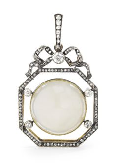 A Russian Gold, Diamond, and Moonstone Pendant, circa the octagonal frame… Edwardian Jewelry, Antique Jewelry, Vintage Jewelry, Moonstone Pendant, Moonstone Jewelry, Bow Jewelry, Jewelery, Art Nouveau, Faberge Jewelry