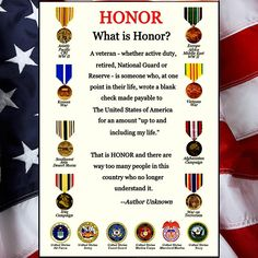 Honor- my father understood this completely. He was in the National Guard, my grandfather in the Navy, my great-grandfather in the Army. Military Quotes, Military Humor, Military Veterans, Military Life, Veterans Day, Military Service, Navy Veteran, Military Ranks Marines, Military Spouse