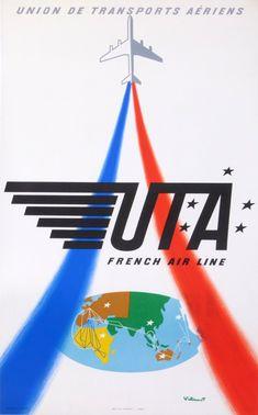 uta - union des transports aeriens : 1964 affiches anciennes de VILLEMOT Bernard