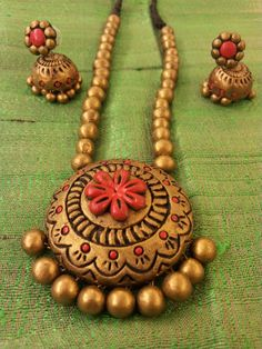 Terracotta Jewellery Set from India #terracotta #jewellery #india