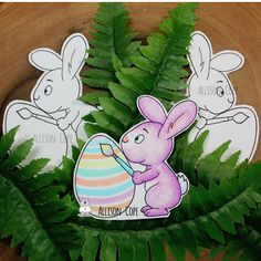 """Color Me Easter Bunnies by Allison Cope featuring the """"Easter Bunnies Digital Stamp Bundle"""" from Gerda Steiner Designs Bunny Images, Happy Easter Everyone, Photo Magnets, Copic Markers, Cute Bunny, White Ink, Digital Stamps, Projects For Kids, Easter Bunny"""