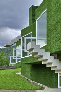 Grass-covered house in Frohnleiten, Austria by Weichlbauer Ortis Architects