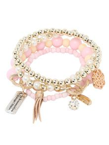 Pink Pearl Beaded Multilayers Hand Chain