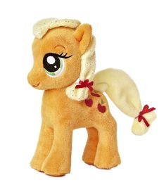"""6.5"""" APPLEJACK is not afraid to get her hooves dirty as a farm gal! This cute 6.5? standing version has shimmery sculpted yellow hair with red ribbons and also features her infamous apple Cutie Mark."""
