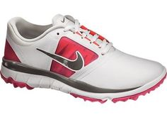 Nike Golf Womens FI Impact Golf Shoes 2013 - 611509-101 WHITE/MD BS GRY-VVD PNK-LT BS