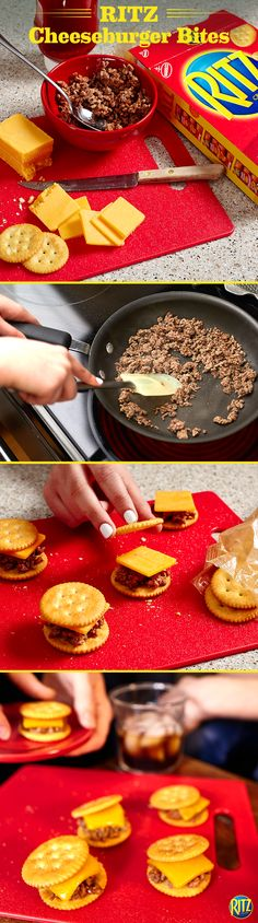 Summer is all about grilling in the backyard. These RITZ cracker Cheeseburger Bites are a tasty alternative to the grill when an unexpected rain shower rolls in. Cook ground beef  in a small skillet and, once browned, add ketchup. Top one spoonful onto a RITZ cracker with a slice of sharp cheddar cheese. Serve these bite-sized (and mouthwatering) appetizers at your next get-together with family and friends! Life's Rich.