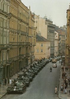 Soviet tanks parked in the streets of Prague Czechoslovakia - Praha (Prague), 1968 Prague Spring, T 62, Prague Czech Republic, Panzer, Life Magazine, Cold War, Military History, Historical Photos, Old Photos