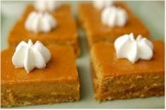 Pumpkin Bars Recipe - Joyofbaking.com These are good, but use real butter in the crust because the lower fat spreads make the crust too chewy.