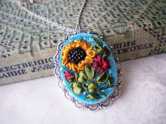 Hand embroidery pendant Embroidered necklaces Ribbon jewellery Sunflower pendant Flower pendant Romantic style pendant Gift for women Gift for her Jewellery for women This work will be done for order and may be slightly different from the pictures. Bright and colorful necklace