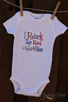 Baby or Kid Onesie or shirt  I Rock the Red White by GentrysCloset, $22.00