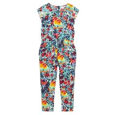 From bluezoo's fantastic range of children's clothing, this pretty jumpsuit will brighten up a girl's daytime wardrobe. Featuring two side pockets, this lightweight piece is coloured with a vibrant floral and parrot print in a mix of summery hues and includes an elasticated waist and button fastenings at the back.