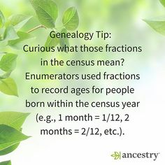 What do those fractions in the census mean?  #GenealogyTip #Genealogy #FamilyHistory #Ancestry #heritage #familytree #roots #census #family #ancestors