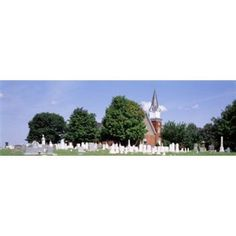 Cemetery in front of a church Clynmalira Methodist Cemetery Baltimore Maryland USA Canvas Art - Panoramic Images (36 x 12)