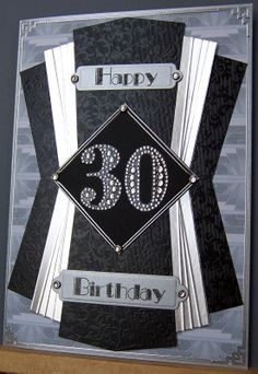 Art Deco Birthday card - for a man Whitchcraft.blogspot.com