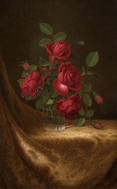 Martin Johnson Heade - Four Roses in a Glass, c. offered by Godel & Co Fine Art Inc. on InCollect Hudson River School Paintings, A4 Poster, Poster Prints, Martin Johnson Heade, Rose In A Glass, School Art Projects, Painting Still Life, Global Art, Vintage Artwork