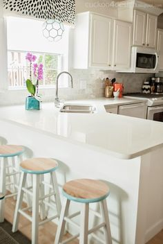 Peeling and Painting Laminate Kitchen Cabinets - Cuckoo4Design