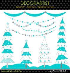 Christmas clip art Christmas tree clip art bunting by decorartist, $4.50