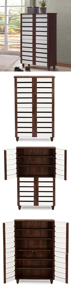 bookcases baxton studio sasaki oak and white 2tone shoe cabinet with