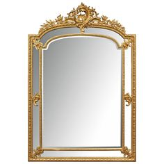 French 19th Century Louis XVI Style Double-Framed Giltwood Mirror | From a unique collection of antique and modern wall mirrors at https://www.1stdibs.com/furniture/mirrors/wall-mirrors/