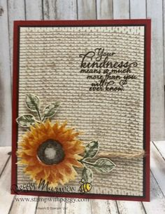 Painted Autumn Suite, Painted Harvest stamp set, Burlap Background stamp, Leaf P. Burlap Card, Burlap Crafts, Burlap Projects, Burlap Background, Sunflower Cards, Card Creator, Thanksgiving Cards, Scrapbooking, Fall Cards
